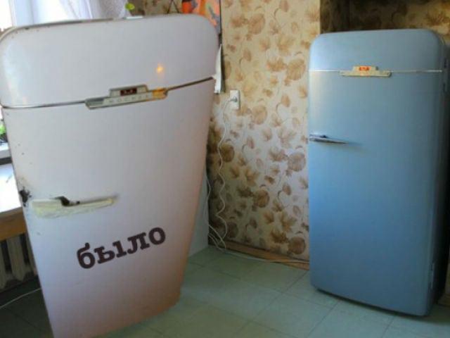 Красим старый совдеповский холодильник
