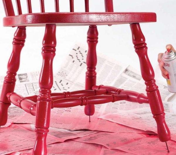 Красим стул в красный цвет