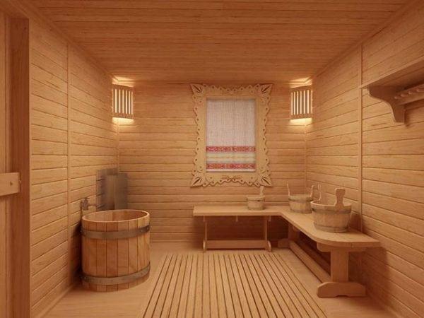 В новой бане деревянные полы