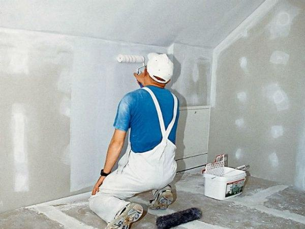 Грунтование гипсокартонных стен