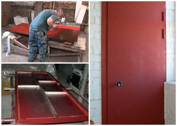 Покраска металлических входных дверей