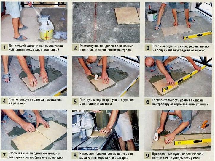 Правильная укладка керамической плитки своими руками