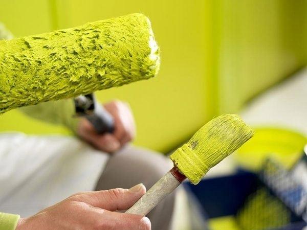 Валик и кисть для окраски стены