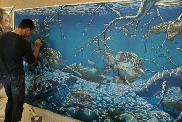 Художественная роспись стены акриловой краской