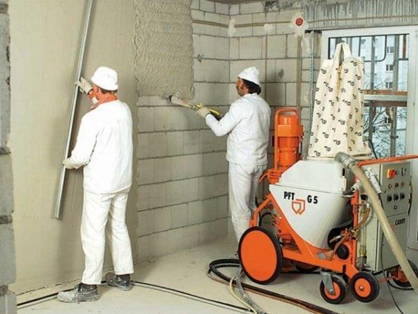 Механизированное шпаклевание стен