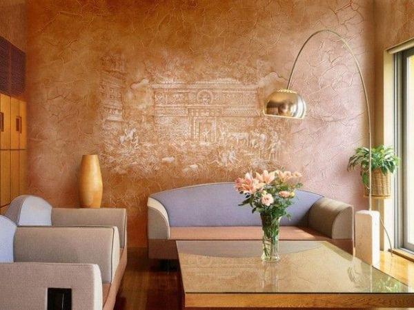 Комната отделанная венецианской штукатуркой
