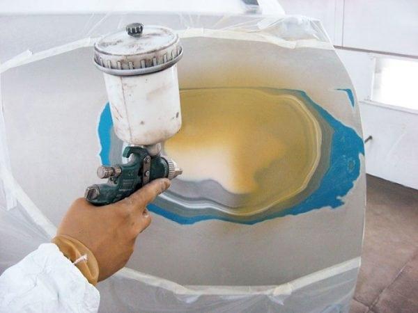 Нанесение кислотного грунта аэрозольным методом