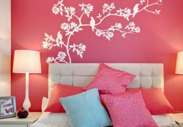 Трафаретный рисунок для спальной комнаты