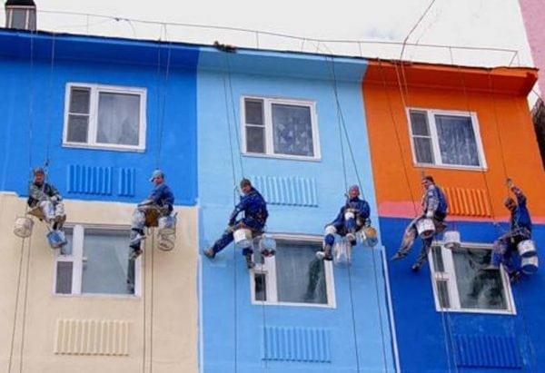 Покраска фасадов силикатной краской