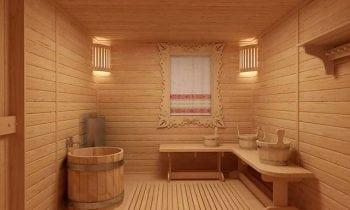 В банной комнате деревянные полы без покрытия