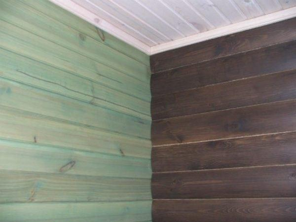 Покраска стены - имитация дуба