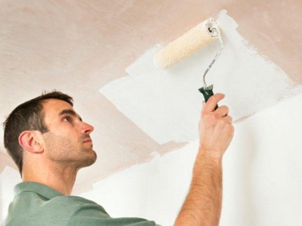 Окрашивание гипсокартонного потолка