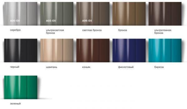 Различные цвета анодированного покрытия