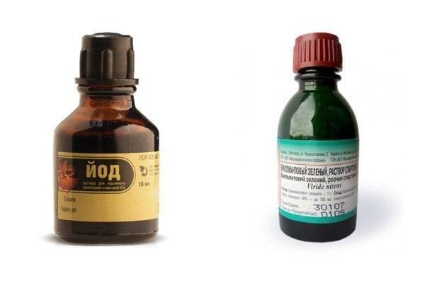 Аптечные красители - зеленка и йод