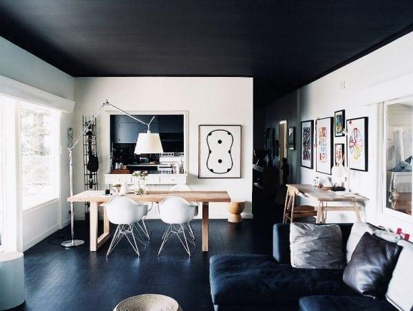 Темные пол и потолок – светлые стены
