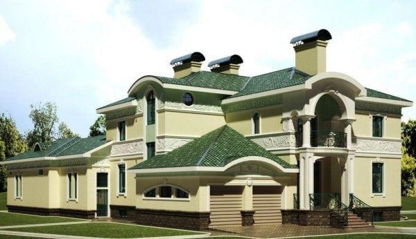 Дом с крышей зеленого цвета