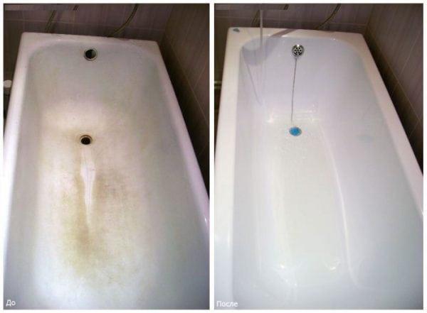 Как выглядит ванна до и после обновления акрилом