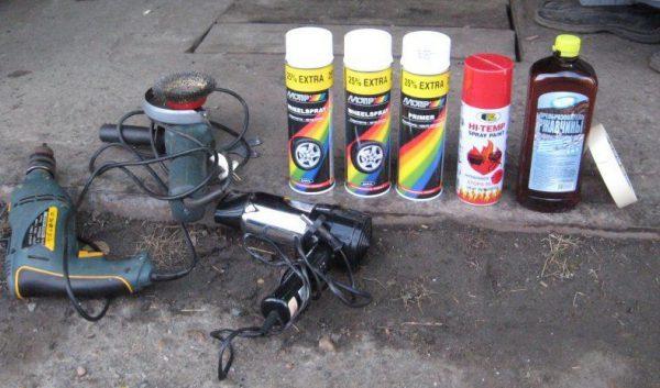 Инструменты и материалы для поскраски дисков