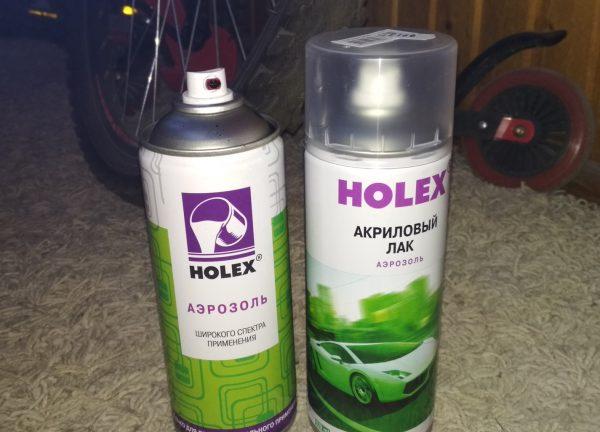 Краска и лак Holex в баллончиках