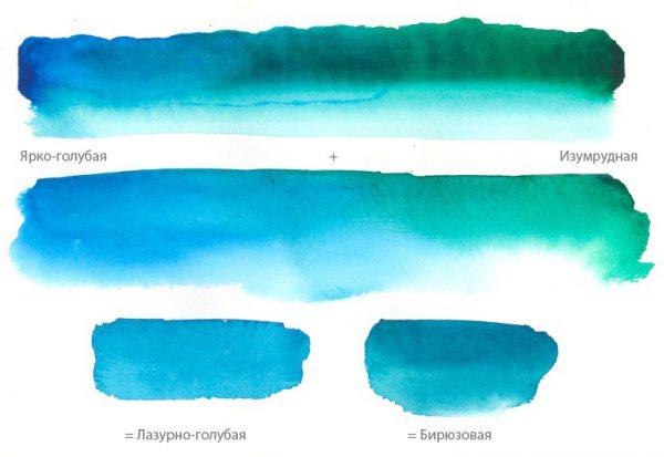 Получение различных оттенков бирюзового цвета