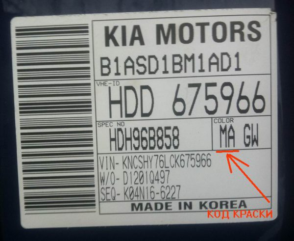 Указание кода краски в автомобилях KIA