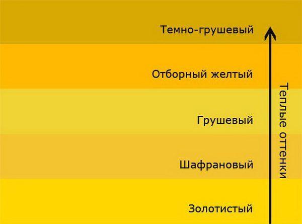 Теплые оттенки желтого цвета