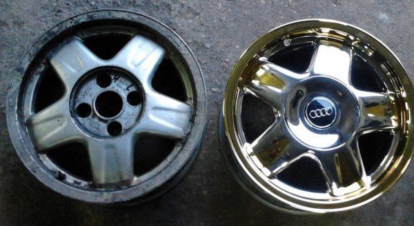 Покрытие хромом алюминиевых дисков автомобиля