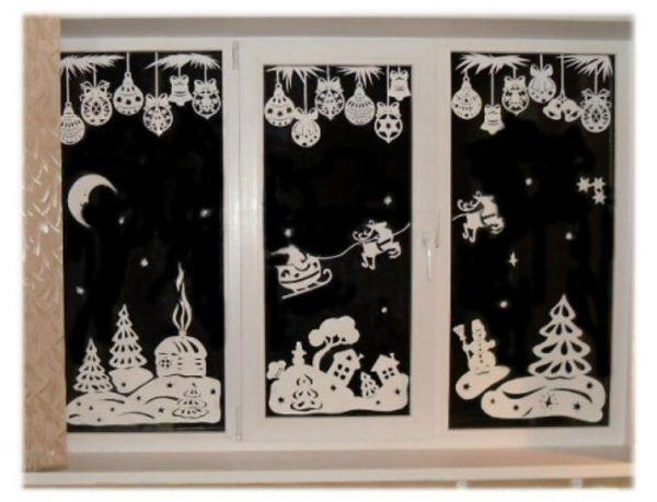 Рисунки по трафарету на окнах