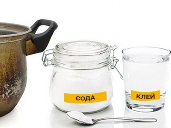 Чистка посуды содой и жидким стеклом