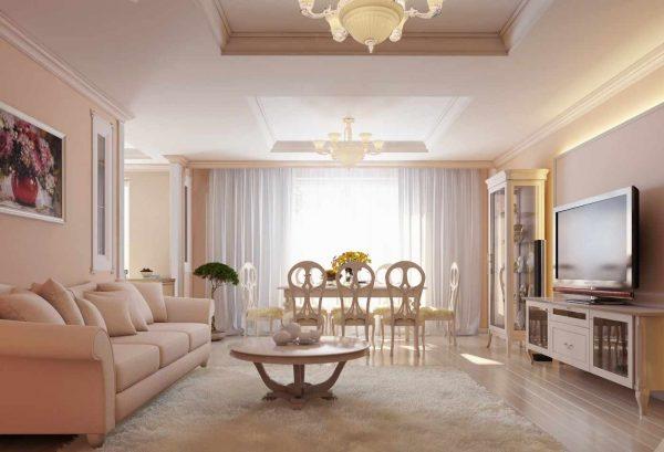 В гостиной лучше использовать светлые оттенки