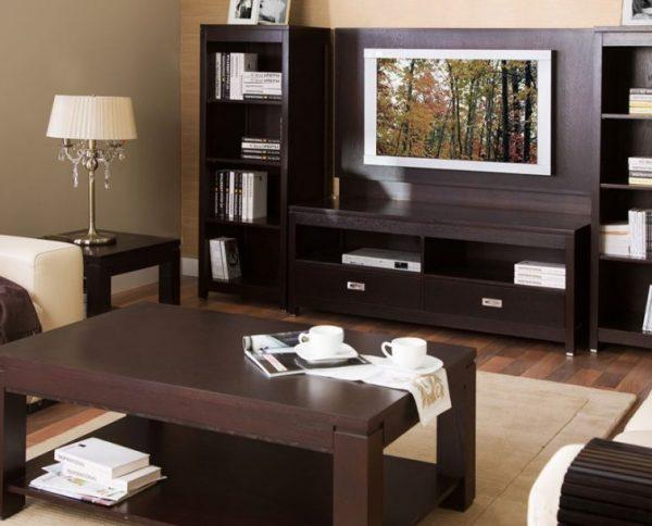 Использование темно-коричневых тонов при оформлении гостиной