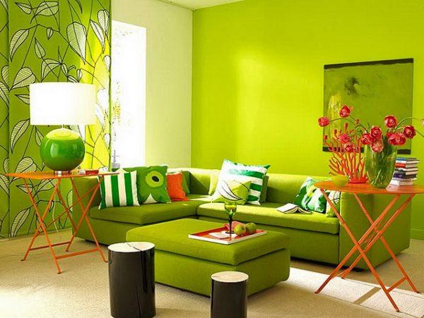 Комната в зеленоватых тонах