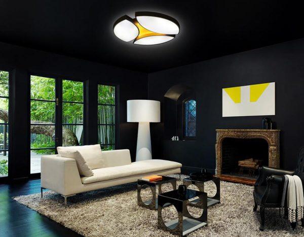 Интерьер гостиной в черном цвете