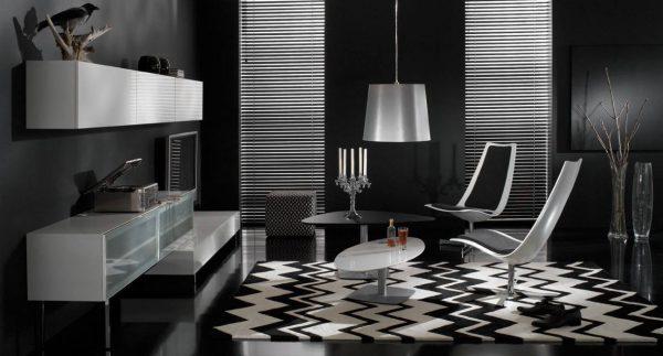 Черно-белый дизайн помещения