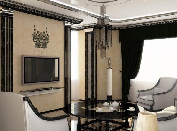 Гостиная в комбинации черного, белого и бежевого цвета