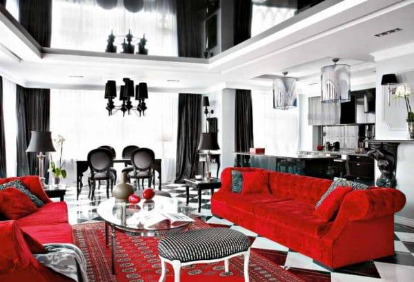 Гостиная в черно-белых и красных тонах