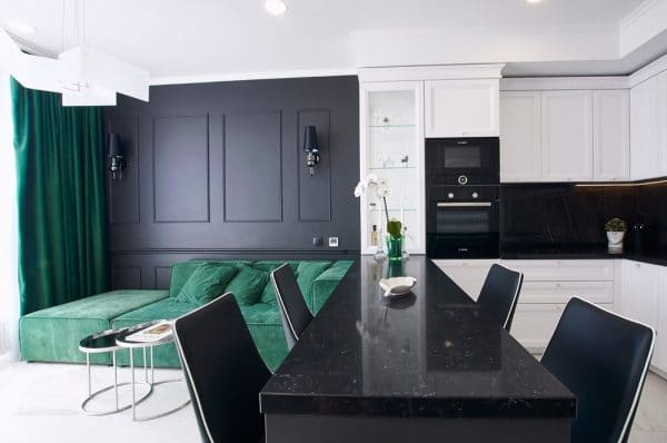 Кухня-студия в черно-белом и зеленом цвете
