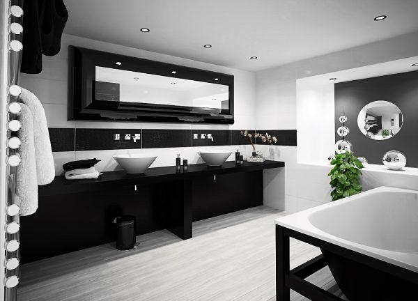 Черный часто применяют при оформлении ванной комнаты
