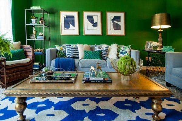 Голубой и зеленый в интерьере