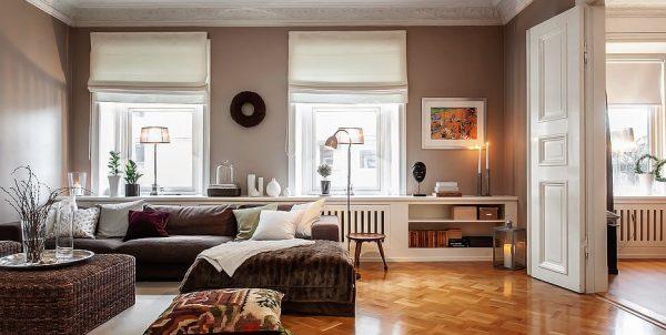 Стены окрашенные в кофейный цвет