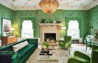 Зеленые обои и мебель