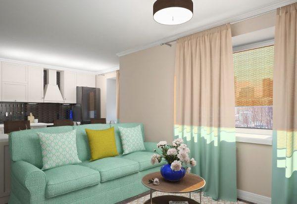 Мятный диван на бежевом фоне