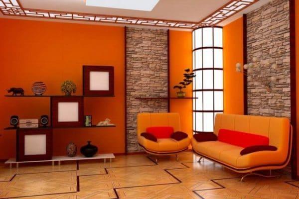 Оранжевый цвет в помещении