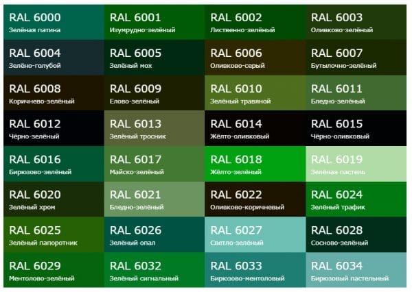 Разновидности зеленого