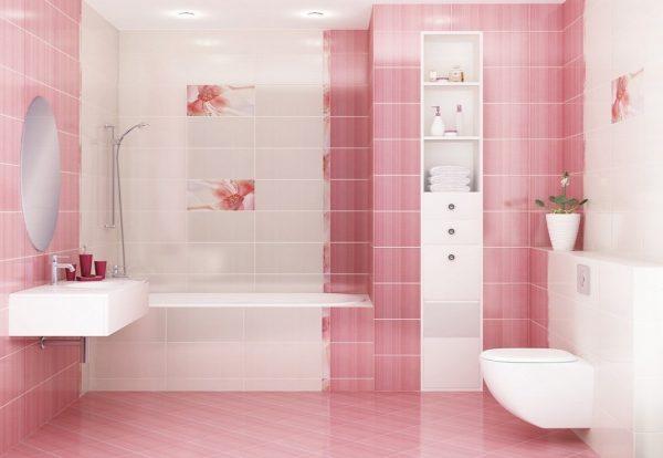 Розовая плитка для ванной