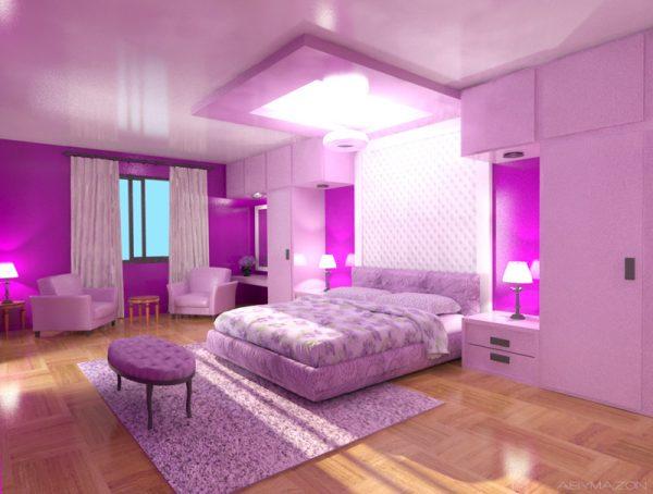 Сиренево-розовая комната