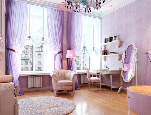 Сиреневый стоит использовать в помещениях с хорошим естественным освещением