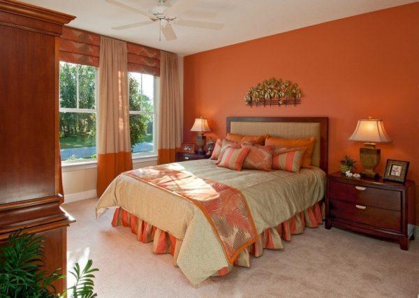 Терракотовый цвет в спальне