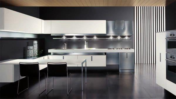 Современная черно-белая кухня