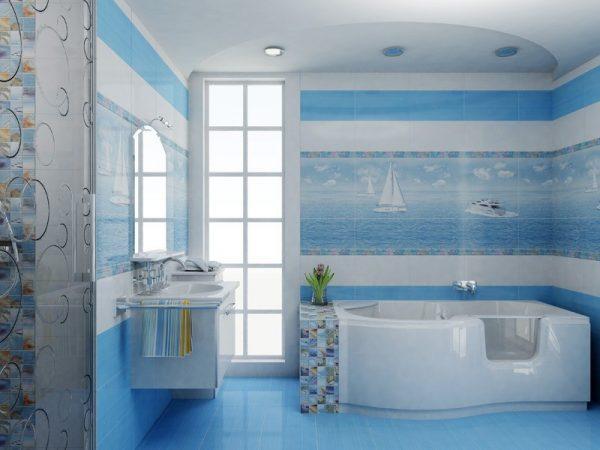 Элементы морского дизайна в ванной